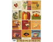 """16.3 Декупажная карта(лазерн.печать)29,5х42 """"Карточки: фрукты, овощи и сыр."""""""