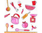 """R РАЗБИРАТЬ 9.4 Салфетка 33х33см (20шт) """"Кухонная утварь"""" красный"""