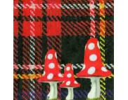 """R РАЗБИРАТЬ 24.3 Салфетка 33х33см (20шт) """"Мухоморы на фоне шотландской клетки"""""""