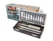 Подарочный набор(нож -3шт.+пинцет-1шт.+лезвия в ассортименте-13 шт.)в пласт.коробке