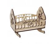 Игрушка для декора (фанера) КРОВАТКА-КАЧАЛКА 95х85х100мм