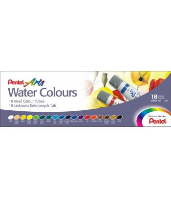 Набор акварельных красок в тубах Pentel Water Colours 5млх18цв
