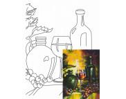 30х40 Холст на ДВП  ХЛОПОК, акрил.грунт, с рисунк.под раскраску Натюрморт № 22