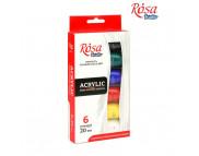 """Набор красок акрилов.матовых """"Rosa Studio""""в тубах картон.короб.(6х20мл)"""