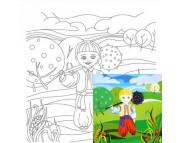 20х20 Холст на ДВП  ХЛОПОК, акрил.грунт, с рисунк.под раскраску Сказочные герои №4 Катогорошек