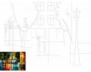 30х40 Холст на ДВП  ХЛОПОК, акрил.грунт, с рисунк.под раскраску Пейзаж №12