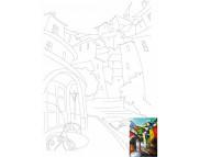 30х40 Холст на ДВП  ХЛОПОК, акрил.грунт, с рисунк.под раскраску Пейзаж №15
