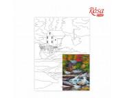 30х40 Холст на ДВП  ХЛОПОК, акрил.грунт, с рисунк.под раскраску Пейзаж №26