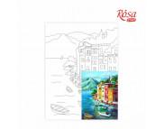 30х40 Холст на ДВП  ХЛОПОК, акрил.грунт, с рисунк.под раскраску Морской пейзаж №1