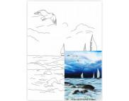 30х40 Холст на ДВП  ХЛОПОК, акрил.грунт, с рисунк.под раскраску Морской пейзаж №6