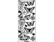 """Наклейка 10х23см """"Бабочки"""" ГОЛОГРАМН. ЗОЛОТО"""