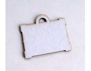 Высечка из белого картона Чемодан (портфель) (4шт) 3,5х4см