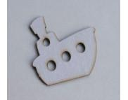 Высечка из белого картона Пароход №1 (2шт.) 4,5х5см