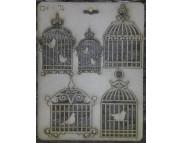 """Высечка из картона 074 """"Клетки с птичками"""""""