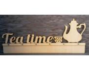 """Вешалка для декора (фанера 6мм) """"Tea Time"""" 6 крючков 54х22,5см"""