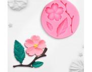 """Молд силиконовый """"Цветок, лист и веточка"""" 5,5х0,9см"""