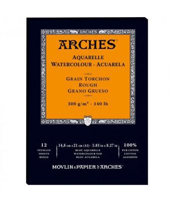 Альбом  для акварели 300г 100%хлопок Torschon (Торшон) Arches альбом.форм.12л  14,8х21см