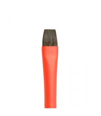 "Кисть из волоса Микс(соболь+синтетика) ПЛОСКАЯ/ручка коротк.красная,обойма soft-touch ""AQUA red"" Roubloff №12"