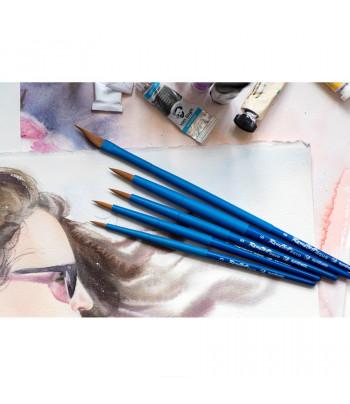 "Кисть из волоса коричневой синтетики КРУГЛАЯ ручка кортк.синяя,обойма soft-touch ""AQUA blue"" Roubloff №3"