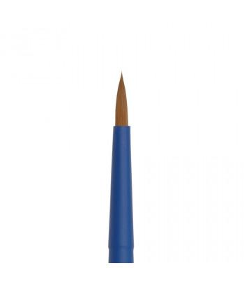 "Кисть из волоса коричневой синтетики КРУГЛАЯ ручка кортк.синяя,обойма soft-touch ""AQUA blue"" Roubloff №5"