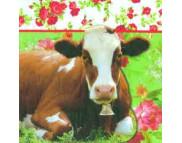 """R РАЗБИРАТЬ 7.2 Салфетка 33х33см (20шт) """"Корова с розами"""""""