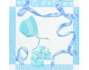 "R РАЗБИРАТЬ 6.1 Салфетка 25х25см (20шт) ""Подарки новорожденному"" голубой"