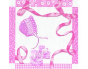"""R РАЗБИРАТЬ 6.1 Салфетка 25х25см (20шт) """"Подарки новорожденному"""" розовый"""