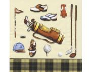 """R РАЗБИРАТЬ 26 26 Салфетка 33х33см (20шт) """"Все для гольфа"""" кремовый и черный"""