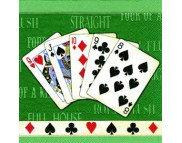 "R РАЗБИРАТЬ 26 Салфетка 33х33см (20шт) ""Карты. Full House"" зеленый"