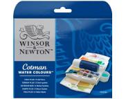 """Набор акварели в мал.юветах""""Cotman"""" W&N 12цв+кисть+спонж+емк.для воды)в пласт. коробке"""