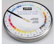 *Набор акварельных красок в кюветах Pebeo (24цв+кисть) в кругл.металл. короб