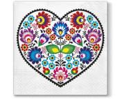 "R РАЗБИРАТЬ 21 Салфетка 33х33см (20шт) ""Сердце из цветов"""