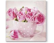 "R РАЗБИРАТЬ 27.6 Салфетка 33х33см (20шт) ""Розы в чашке"""