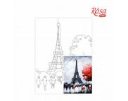 30х40 Холст на ДВП  ХЛОПОК, акрил.грунт, с рисунк.под раскраску Париж