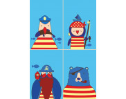 """Н-р живопись по контуру Малювалка """"Морская команда"""" (холст/подрамн.20х30см.+кисть+н-р акрил.красок+рама+пошагов.инструкция)"""