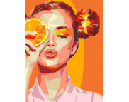 "Н-р живопись по номерам ""Orange Girl""(холст/подрамн.35х45см+кисть+н-р акрил.красок+схема)"