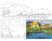 30х40 Холст на ДВП  ХЛОПОК, акрил.грунт, с рисунк.под раскраску Украинское село