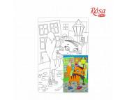 20х30 Холст на ДВП  ХЛОПОК, акрил.грунт, с рисунк.под раскраску Мультфильм 28 Кот на прогулке