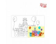 20х30 Холст на ДВП  ХЛОПОК, акрил.грунт, с рисунк.под раскраску Мультфильм №33 Котики с шарами