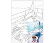 30х40 Холст на ДВП  ХЛОПОК, акрил.грунт, с рисунк.под раскраску Морской пейзаж №5