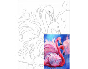 30х40 Холст на ДВП  ХЛОПОК, акрил.грунт, с рисунк.под раскраску Фламинго