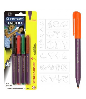Н-р маркеров для тату(имитация) CENTROPEN картон.коробка,4шт.+трафарет /2880